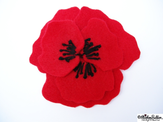 Poppy is embroidered felt brooch No.16 in the '27 Before 27' blog challenge  at www.elistonbutton.com - Eliston Button - That Crafty Kid