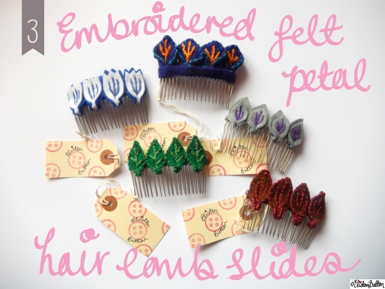 Create 28 – No.3 – Embroidered Felt Petal Hair Comb Slides at www.elistonbutton.com - Eliston Button - That Crafty Kid