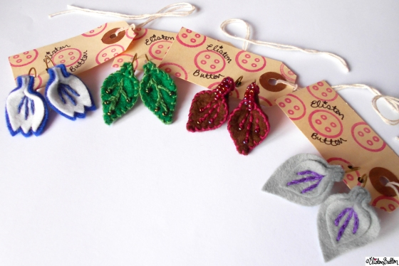 Create 28 – No.2 - Embroidered Felt Petal Earrings at www.elistonbutton.com - Eliston Button - That Crafty Kid