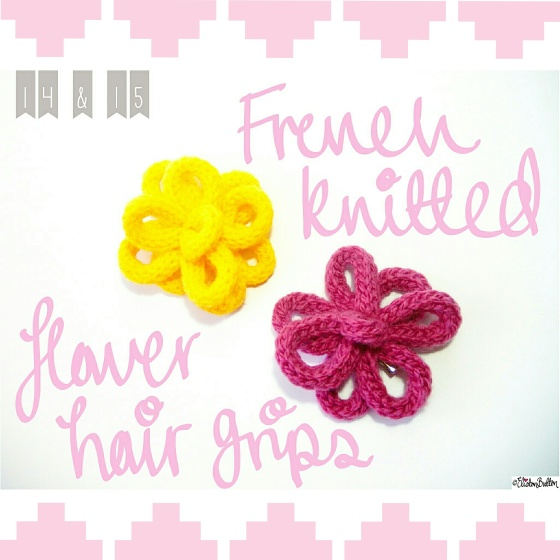 French Knitted Flower Hair Grips - Create 28 – I Did It! at www.elistonbutton.com - Eliston Button - That Crafty Kid