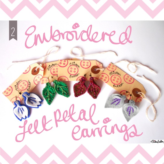 Embroidered Felt Petal Earrings - Create 28 – I Did It! at www.elistonbutton.com - Eliston Button - That Crafty Kid