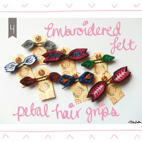 Embroidered Felt Petal Hair Grips - Create 28 – I Did It! at www.elistonbutton.com - Eliston Button - That Crafty Kid