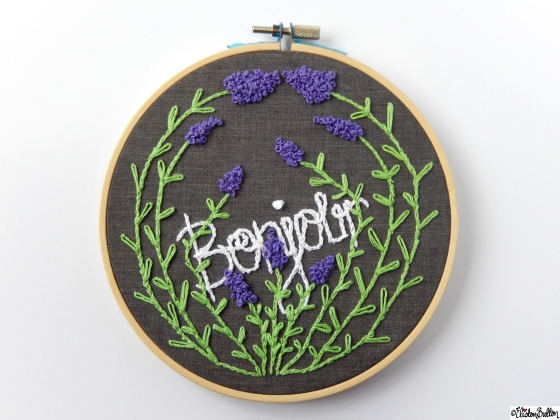 Create 28 – No 28  – Bonjour Lavender Embroidered Embroidery Hoop Wall Art at www.elistonbutton.com - Eliston Button - That Crafty Kid