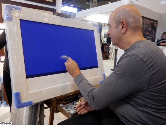 Artist Rob Mullen Painting at an Easel at Grand Designs Live 2015 – Part Two at www.elistonbutton.com - Eliston Button - That Crafty Kid