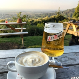 San Miguel and a Cup of Coffee on at The Rising Sun Hotel on Cleeve Hill, Cheltenham, Gloucestershire, UK - Around Here…October 2015 at www.elistonbutton.com - Eliston Button - That Crafty Kid