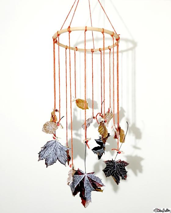 Autumn Leaf Art Hanging Mobile - Tutorial Tuesday – Autumn Leaf Art Mobile at www.elistonbutton.com - Eliston Button - That Crafty Kid