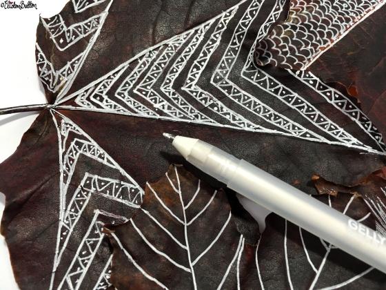 Aztec Inspired Leaf Illustration - Workspace Wednesday – Autumn Leaf Art at www.elistonbutton.com - Eliston Button - That Crafty Kid