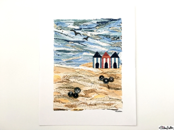 Beach Huts Fabric Collage Art Print at www.elistonbutton.com - Eliston Button - That Crafty Kid