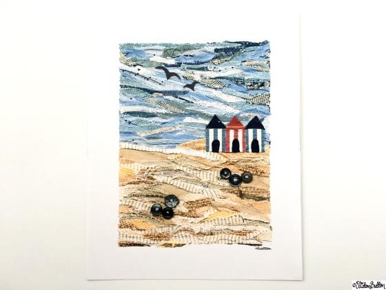 Beach Huts Fabric Collage Art Print at www.elistonbutton.com - Eliston Button - That Crafty Kid