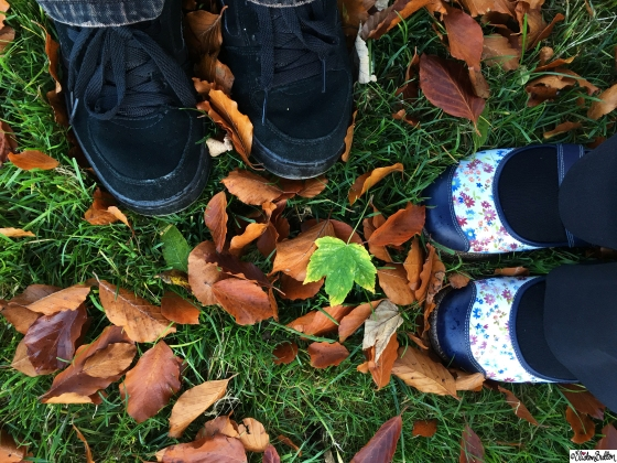 Feet together in the Autumn Leaves at Dovers Hill, Cotswolds, UK - An Autumn Adventure at www.elistonbutton.com - Eliston Button - That Crafty Kid