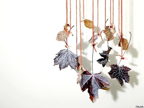 Hanging Decorated and Illustrated Autumn Leaves - Tutorial Tuesday – Autumn Leaf Art Mobile at www.elistonbutton.com - Eliston Button - That Crafty Kid