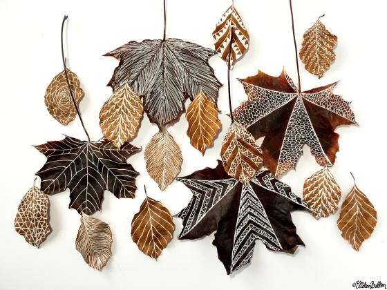 Illustrated Autumn Leaf Art - Tutorial Tuesday – Autumn Leaf Art Mobile at www.elistonbutton.com - Eliston Button - That Crafty Kid