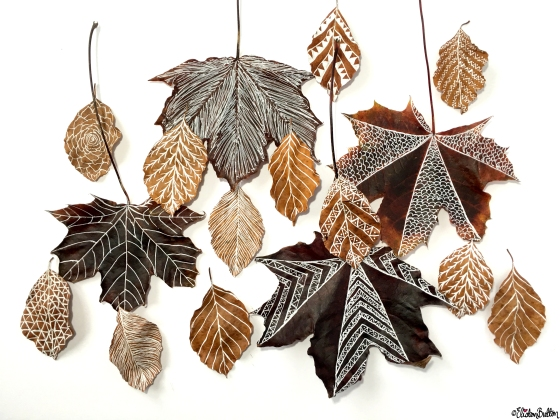 Illustrated Autumn Leaves Big and Small - Workspace Wednesday – Autumn Leaf Art at www.elistonbutton.com - Eliston Button - That Crafty Kid
