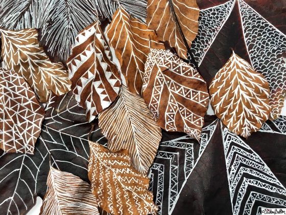 Illustrated Autumn Leaves Close Up - Workspace Wednesday – Autumn Leaf Art at www.elistonbutton.com - Eliston Button - That Crafty Kid