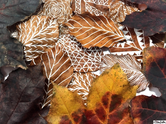 Illustrated Leaves amongst Natural Autumn Leaves - Workspace Wednesday – Autumn Leaf Art at www.elistonbutton.com - Eliston Button - That Crafty Kid