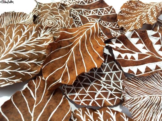 Illustrations on Leaves Close Up - Workspace Wednesday – Autumn Leaf Art at www.elistonbutton.com - Eliston Button - That Crafty Kid