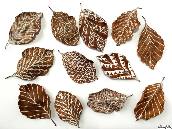 Illustrations on Leaves - Workspace Wednesday – Autumn Leaf Art at www.elistonbutton.com - Eliston Button - That Crafty Kid
