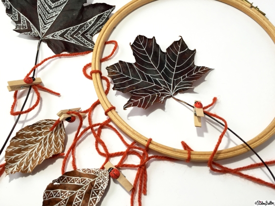 Keep the Wool Evenly Spaced Around the Embroidery Hoop - Tutorial Tuesday – Autumn Leaf Art Mobile at www.elistonbutton.com - Eliston Button - That Crafty Kid