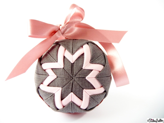 Pastel Pink and Slate Grey Quilted Ball Bauble Decoration by Eliston Button on Etsy - It's Beginning to Look a Lot Like Christmas (and Last Christmas Postage Dates) at www.elistonbutton.com - Eliston Button - That Crafty Kid