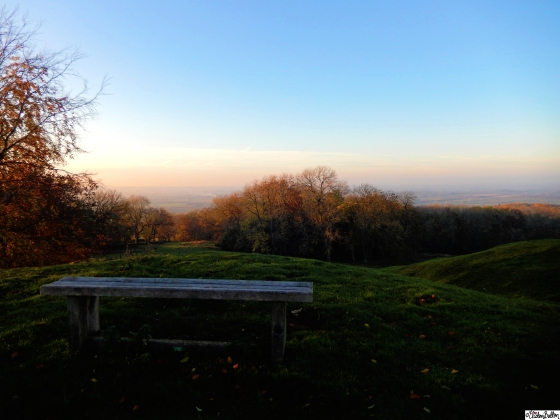 Sit with Me a While - Bench overlooking Autumn over Vale of Evesham at at Dovers Hill, Cotswolds, UK - An Autumn Adventure at www.elistonbutton.com - Eliston Button - That Crafty Kid