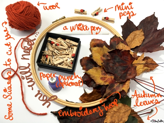 Supplies for an Autumn Leaf Art Hanging Mobile - Tutorial Tuesday – Autumn Leaf Art Mobile at www.elistonbutton.com - Eliston Button - That Crafty Kid