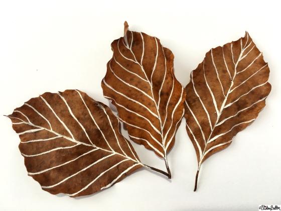 White Leaf Veins - Autumn Leaf Art - Workspace Wednesday – Autumn Leaf Art at www.elistonbutton.com - Eliston Button - That Crafty Kid