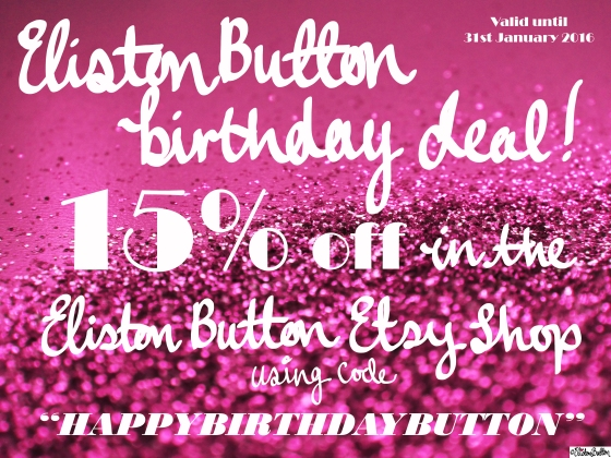 15% Eliston Button Etsy Shop Birthday Deal Discount - Eliston Button is 2 Years Old Today! at www.elistonbutton.com - Eliston Button - That Crafty Kid
