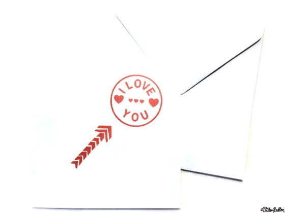 Simple Red and White I Love You, Hearts and Arrow Hand Stamped Square Card and Envelope - Love is on the Cards! at www.elistonbutton.com - Eliston Button - That Crafty Kid