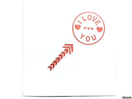 Simple Red and White I Love You, Hearts and Arrow Hand Stamped Square Card - Love is on the Cards! at www.elistonbutton.com - Eliston Button - That Crafty Kid