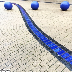 Day 04 - Circle - Blue Concrete Balls in the Street at Bristol with Blue Tile Detail - Photo-a-Day - January 2016 at www.elistonbutton.com - Eliston Button - That Crafty Kid – Art, Design, Craft and Adventure.